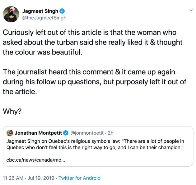 Screengrab of a deleted tweet originally sent from NDP Leader Jagmeet Singh's Twitter account on July...