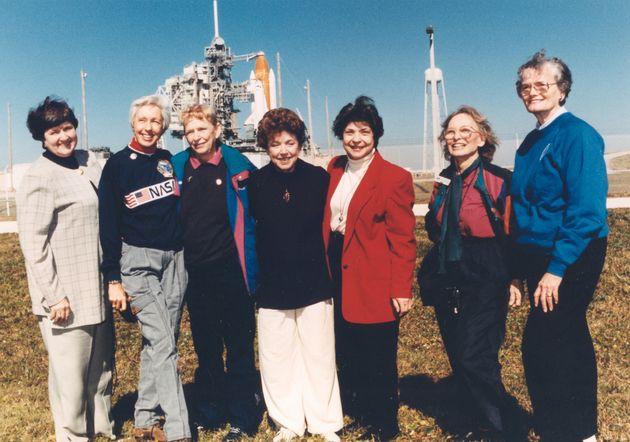 Membres del Mercury 13. D'esquerra a dreta: Gene Nora Jessen, Wally Funk, Jerrie Cobb, Jerri Truhill,...