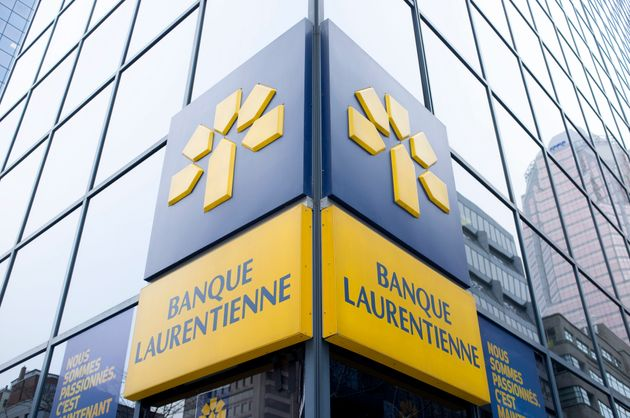 A Laurentian Bank sign on an office building in Montreal, Jan. 13,