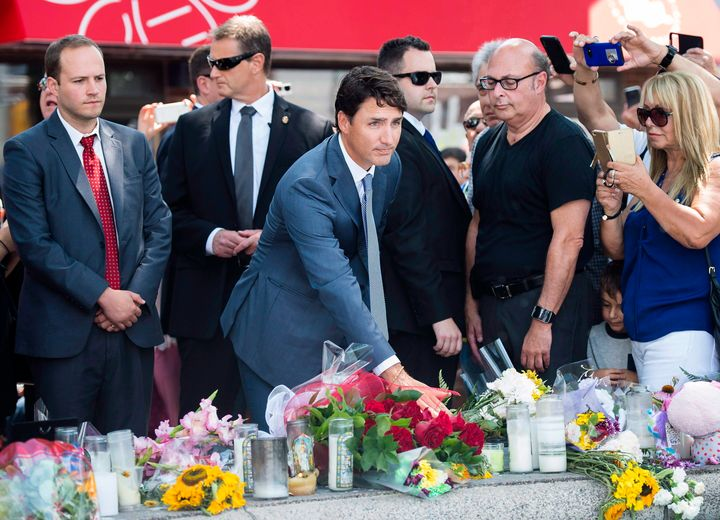 Prime Minister Justin Trudeau attends the funeral for the victims of the Danforth shooting July 30, 2018.