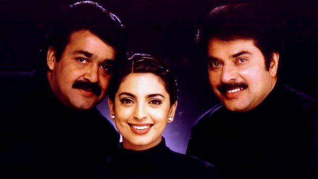 Mohanlal, Juhi Chawla and Mammootty in 'Harikrishnans'