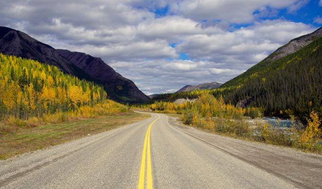 The Alaska Highway (Highway 97) in the Muncho Lake area, the region of northern British Columbia where...