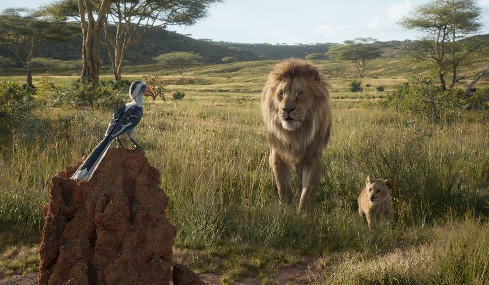 "Zazu, Mufasa and Simba in ""The Lion King."""