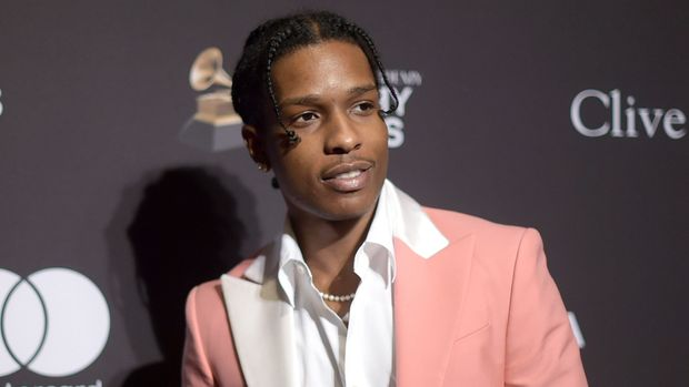 FILE - This Feb. 9, 2019 file photo shows A$AP Rocky at Pre-Grammy Gala And Salute To Industry Icons in Beverly Hills, Calif. The American rapper, whose name is Rakim Mayers, was ordered held by a Swedish court Friday, July 5, for two weeks in pre-trial detention while police investigate a fight on Sunday in central Stockholm. (Photo by Richard Shotwell/Invision/AP, File)