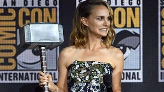 SAN DIEGO, CALIFORNIA - JULY 20: Natalie Portman speaks at the Marvel Studios Panel during 2019 Comic-Con International at San Diego Convention Center on July 20, 2019 in San Diego, California. (Photo by Kevin Winter/Getty Images)