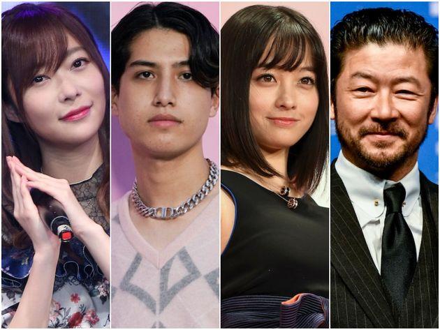 (左から)指原莉乃さん、kemioさん、橋本環奈さん、浅野忠信さん