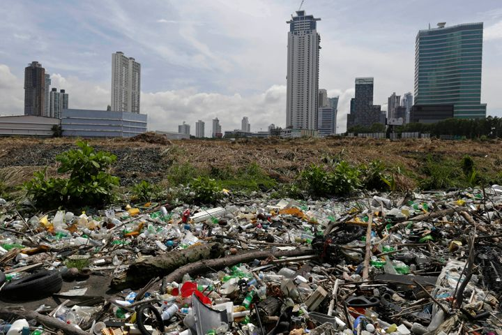 Plastic bottles and general waste are piled up at a beach in Panama City September 4, 2013.