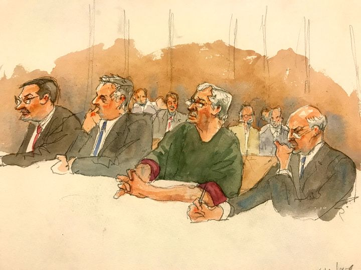 In this courtroom sketch, defendant Jeffrey Epstein, second from right, listens along with defense attorneys as a judge denie