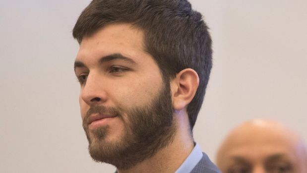 "Anthony Comello, 24, appears in court in Staten Island, N.Y., for a hearing on Wednesday, April 24, 2019. Comello has pleaded not guilty to murder and other charges in the March 13 killing of reputed Gambino boss Francesco ""Franky Boy"" Cali. Robert Gottlieb, Comello's lawyer, is at right. (Shira Stoll/Staten Island Advance via AP, Pool)"