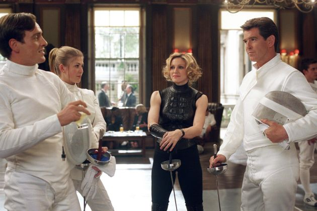 Rosamund Pike in Die Another Day, with Madonna and Pierce