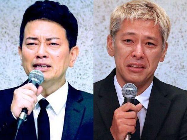 会見した宮迫博之氏と田村亮氏