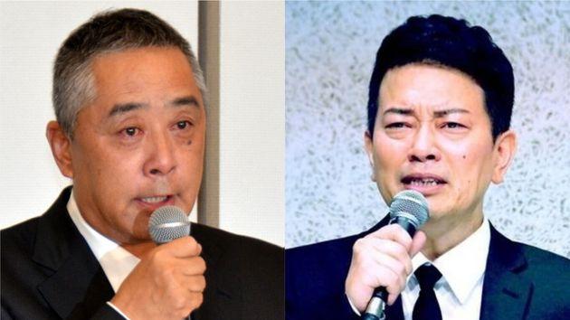 それぞれ記者会見をした、吉本興業の岡本昭彦社長と宮迫博之さん