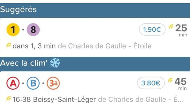 Un trajet entre Charles de Gaulle - Étoile et Balard, avec et sans la