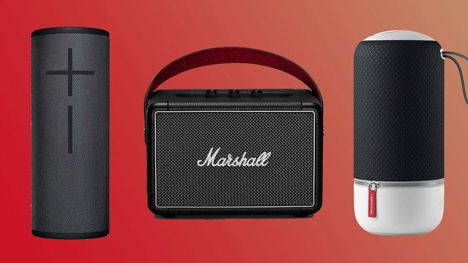De gauche à droite, la Ultimate Ears Megaboom 3, la Marshall Killburn II et la Libratone Zipp