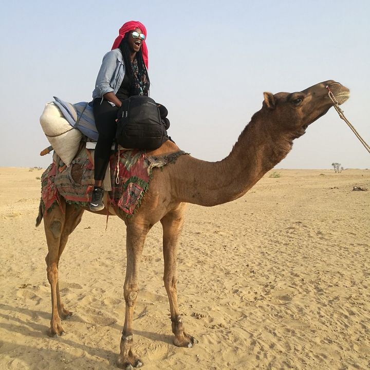 On my first camel ride into the Thar Desert in India.