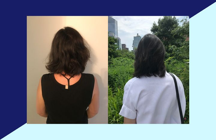 The author's hair, before and after. Before using Living Proof's Perfect Hair Day 5-in-1 treatment (left), after using the styling treatment (right).