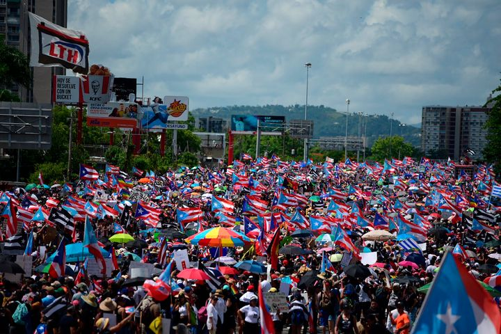 Thousands of Puerto Ricans gather in San Juan for what many are expecting to be one of the biggest protests ever seen in the