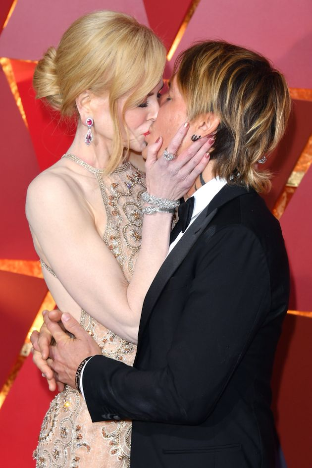 Kidman and Urban kiss at the 89th Annual Academy Awards on Feb. 26, 2017 in