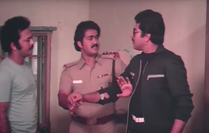 Mohanlal and Mammootty in 'Athirathram' (1984)