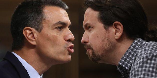 Pedro Sánchez y Pablo Iglesias, durante sus intervenciones de hoy en el
