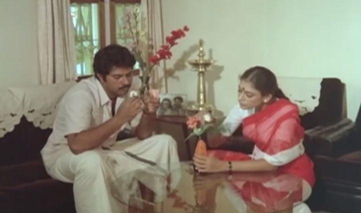Mammootty and Shobana in 'Ee Sabdam Innathe Sabdam' (1985)