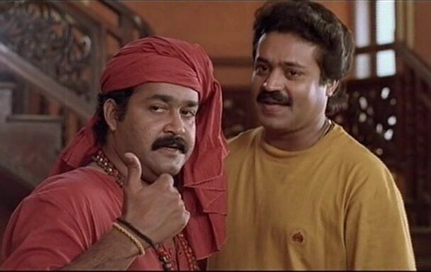 Mohanlal and Suresh Gopi in 'Manichithrathazhu'