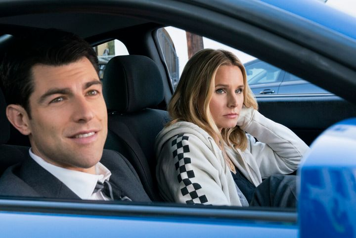 "Max Greenfield and Kristen Bell in the new season of ""Veronica Mars."""