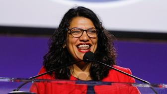 "DETROIT, MI - JULY 22: U.S. Rep. Rashida Tlaib (D-MI) speaks at the opening plenary session of the NAACP 110th National Convention at the COBO Center on July 22, 2019 in Detroit, Michigan. The convention is from July 20 to July 24 with the theme of, ""When We Fight, We Win"". (Photo by Bill Pugliano/Getty Images)"