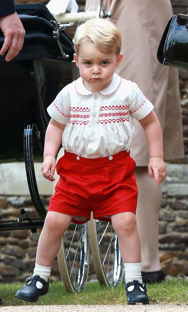 Prince George at the Christening of Princess Charlotte of Cambridge on July 5, 2015 in King's Lynn,
