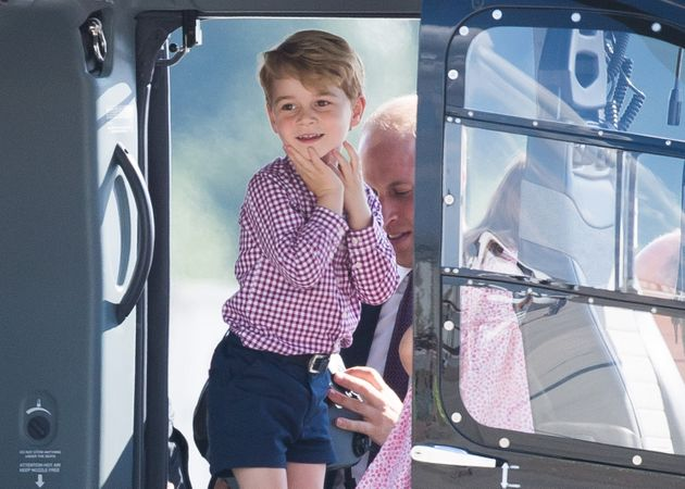 Prince George views helicopter models on the last day of their official visit to Poland and Germany on...