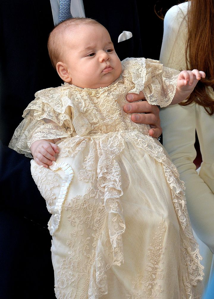 Prince George at Chapel Royal in St James's Palace ahead of the christening by the Archbishop of Canterbury on Oct. 23, 2013 in London, England.