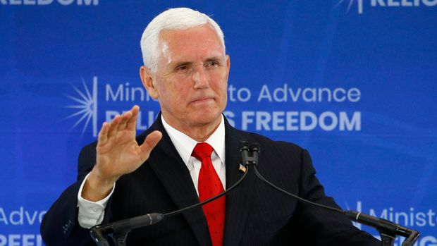 Vice President Mike Pence speaks at the Ministerial to Advance Religious Freedom, Thursday, July 18, 2019, at the U.S. State Department in Washington. (AP Photo/Patrick Semansky)