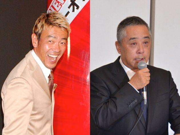 清水圭さん(左)、吉本興業の岡本昭彦社長(右)