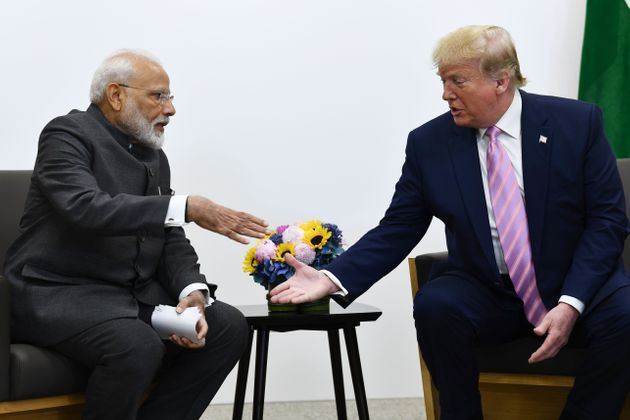 Prime Minister Narendra Modi attends a meeting with US President Donald Trump during the G20 Osaka Summit...