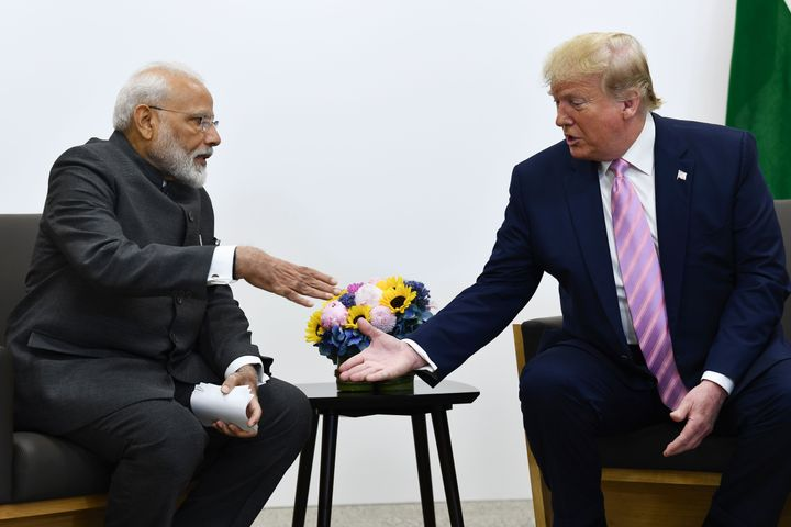 Prime Minister Narendra Modi attends a meeting with US President Donald Trump during the G20 Osaka Summit on June 28, 2019.