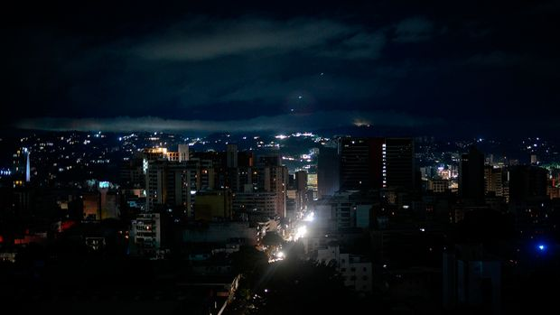 View of Caracas on July 22, 2019 seen as the capital and other parts of Venezuela are being hit by a massive power cut. - The lights went out in most of Caracas while people in other parts of the country took to social media to report the power had gone out there too. The state-owned power company CORPOELEC only reported a breakdown affecting sectors of Caracas. (Photo by Matias Delacroix / AFP)        (Photo credit should read MATIAS DELACROIX/AFP/Getty Images)