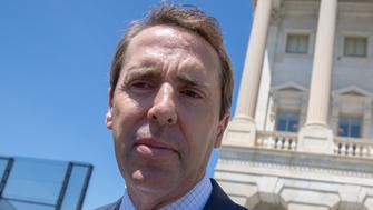 "Rep. Mark Walker, R-N.C., chairman of the Republican Study Committee, the largest group of conservatives in the House, departs for the weekend following final votes, at the Capitol in Washington, Friday, June 15, 2018. President Donald Trump ignited eleventh-hour confusion Friday over Republican efforts to push immigration through the House next week, saying he won't sign a ""moderate"" package, an apparent damaging blow to GOP lawmakers hoping to push legislation through the House next week. The tumult erupted days before GOP leaders planned campaign-season votes on a pair of Republican bills: a hard-right proposal and a middle-ground plan negotiated by the party's conservative and moderate wings. (AP Photo/J. Scott Applewhite)"