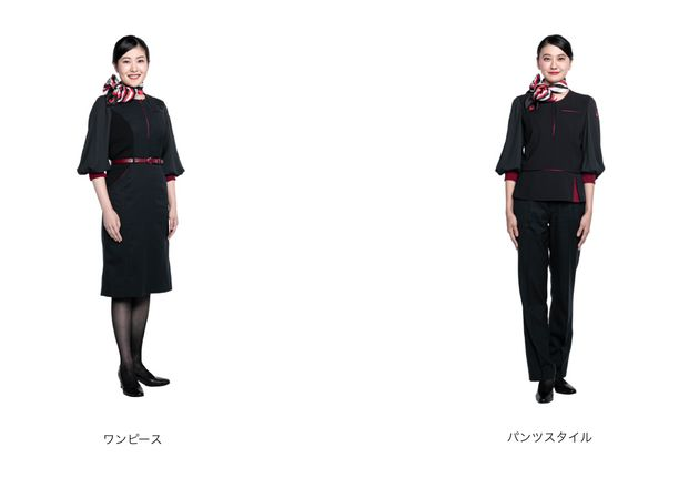 女性の客室乗務員の制服の対比。左:ワンピーススタイル、右:今回より初めて採用されたパンツスタイル