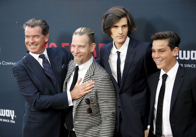 Pierce Brosnan and his sons (2nd l-r) Sean Brosnan, Dylan Brosnan and Paris