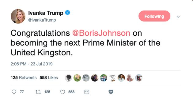 Ivanka Trump Congratulates Boris Johnson On Becoming Prime Minister Of 'United