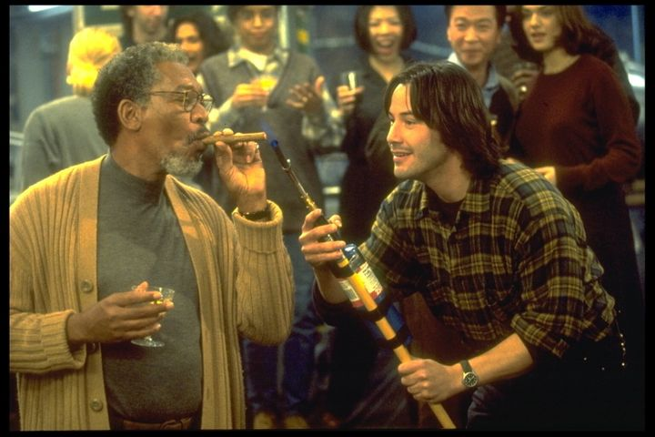 "Reeves starred opposite Morgan Freeman on ""Chain Reaction,"" in 1996."