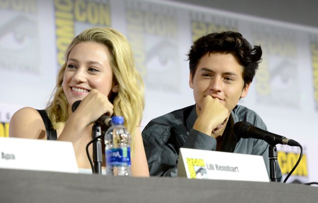 Cole Sprouse and Lili Reinhart attend a Comic-Con panel in San Diego over the