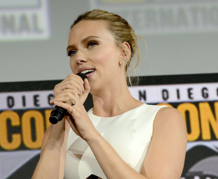 Scarlett Johansson is rocking a huge rock in her engagement ring from Colin Jost.