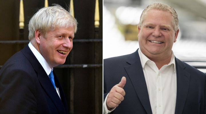 """Boris Johnson, left, will be Britain's next prime minister. Ontario Premier Doug Ford, right, says he's """"always liked"""" Johnson, ever since he was mayor of London."""