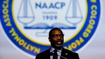 Derrick Johnson, president and CEO of the NAACP addresses the NAACP's (National Association for the Advancement of Colored People) 110th National Convention at Cobo Center in Detroit, Michigan on July 22, 2019. (Photo by JEFF KOWALSKY / AFP)        (Photo credit should read JEFF KOWALSKY/AFP/Getty Images)