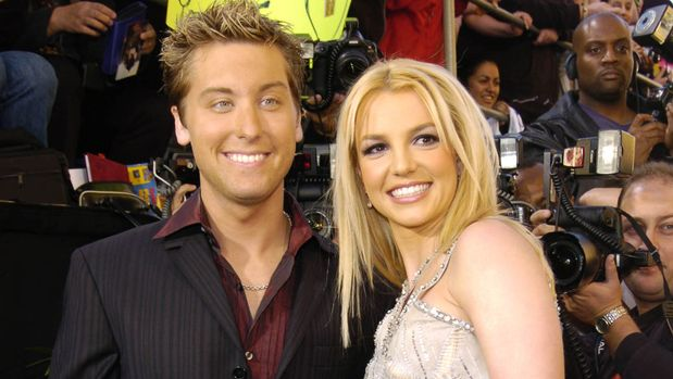 Lance Bass and Britney Spears during 31st Annual American Music Awards - Arrivals at Shrine Auditorium in Los Angeles, California, United States. (Photo by KMazur/WireImage)
