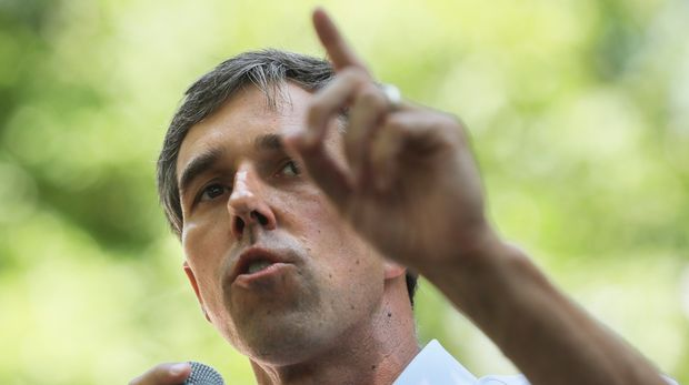 Democratic presidential candidate, former U.S. Rep. Beto O'Rourke speaks at the Manchester Democrats annual Potluck Picnic at Oak Park in Manchester, N.H., Saturday, July 13, 2019. (AP Photo/Cheryl Senter)