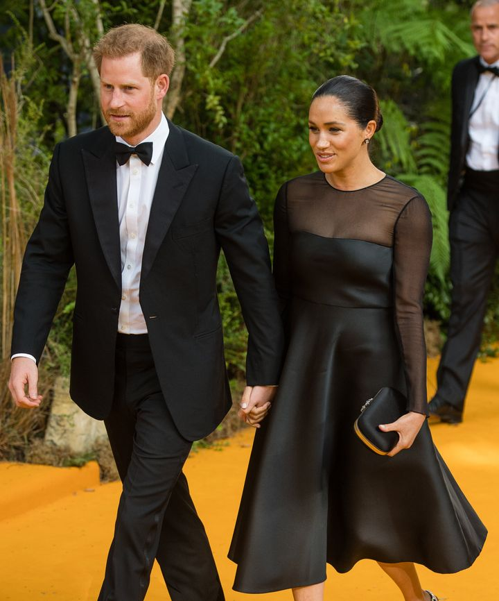 "The Duke and Duchess of Sussex attend ""The Lion King"" European premiere at Leicester Square on July 14 in London."