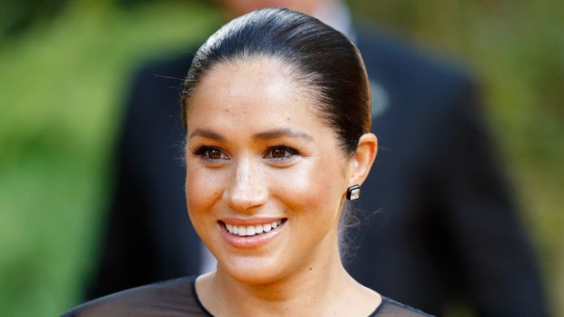 """LONDON, UNITED KINGDOM - JULY 14: (EMBARGOED FOR PUBLICATION IN UK NEWSPAPERS UNTIL 24 HOURS AFTER CREATE DATE AND TIME) Meghan, Duchess of Sussex attends """"The Lion King"""" European Premiere at Leicester Square on July 14, 2019 in London, England. (Photo by Max Mumby/Indigo/Getty Images)"""