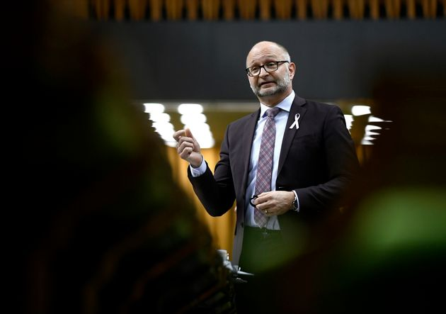 Justice Minister David Lametti rises in the House of Commons on Parliament Hill in Ottawa on May 14,